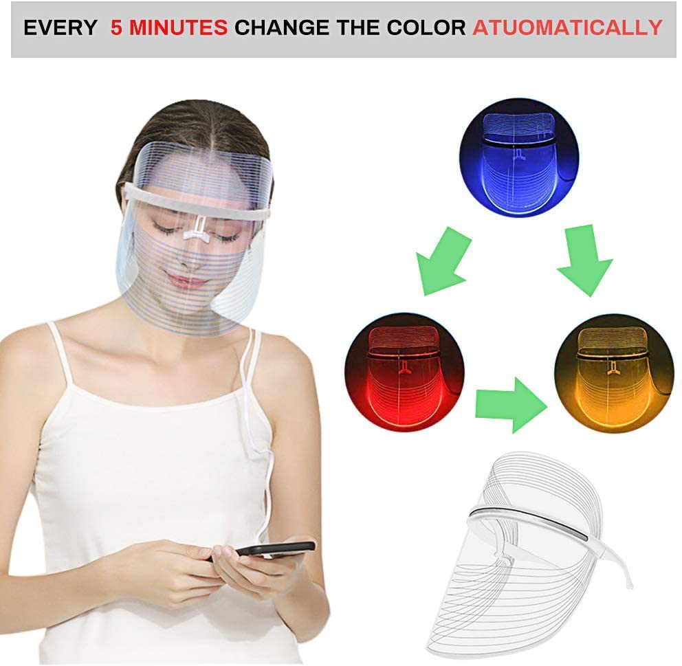 LED Face Mask 3 Color Photon Blue Red Light Therapy Skin ...